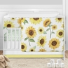 Sunflower Boho Floral Baby Girl Nursery Crib Bedding Set by Sweet Jojo Designs - 5 pieces - Yellow Green and White Farmhouse Watercolor Flower