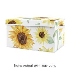 Sunflower Boho Floral Girl Small Fabric Toy Bin Storage Box Chest For Baby Nursery or Kids Room by Sweet Jojo Designs - Yellow, Green and White Farmhouse Watercolor Flower