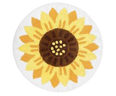 Sunflower Floral Accent Floor Rug or Bath Mat by Sweet Jojo Designs - Yellow and White Boho Farmhouse Watercolor Flower