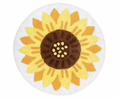 Sunflower Floral Accent Floor Rug or Bath Mat by Sweet Jojo Designs - Yellow, Green and White Boho Farmhouse Flower