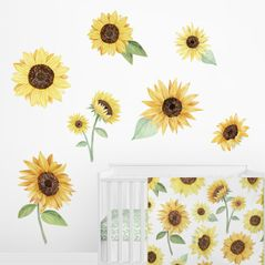 Sunflower Floral Large Peel and Stick Wall Mural Decal Stickers Art Nursery Decor by Sweet Jojo Designs - Set of 2 Sheets - Yellow, Green and White Boho Farmhouse Watercolor Flower