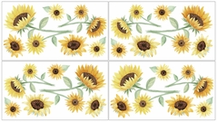Sunflower Floral Peel and Stick Wall Decal Stickers Art Nursery Decor by Sweet Jojo Designs - Set of 4 Sheets - Yellow, Green and White Boho Farmhouse Watercolor Flower