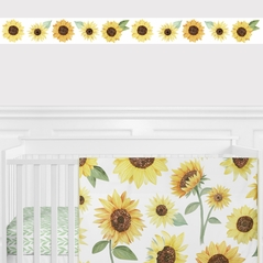 Sunflower Floral Wallpaper Wall Border by Sweet Jojo Designs - Yellow, Green and White Boho Farmhouse Watercolor Flower