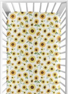 Sunflower Girl Jersey Stretch Knit Baby Fitted Crib Sheet for Soft Toddler Bed Nursery by Sweet Jojo Designs - Yellow and Green Farmhouse Floral Watercolor Flower