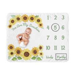 Sunflower Girl Milestone Blanket Monthly Newborn First Year Growth Mat Baby Shower Gift Memory Keepsake Picture by Sweet Jojo Designs - Yellow and Green Farmhouse Watercolor Flower You Are My Sunhine