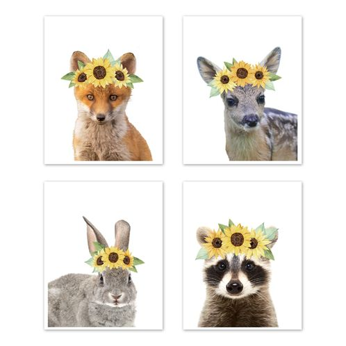 Sunflower Woodland Forest Animal Wall Art Prints Room Decor for Baby, Nursery, and Kids by Sweet Jojo Designs - Set of 4 - Fox Deer Bunny Raccoon Yellow Boho Watercolor Floral Flower - Click to enlarge