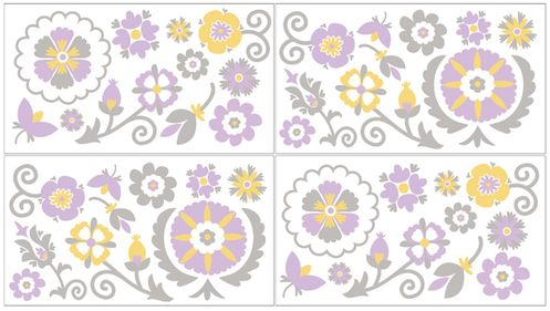 Suzanna Peel and Stick Wall Decal Stickers Art Nursery Decor by Sweet Jojo Designs - Set of 4 Sheets - Click to enlarge
