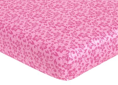 Sweet Jojo Designs Surf Fitted Crib Sheet for Baby/Toddler Bedding Sets - Hibiscus Print - Click to enlarge