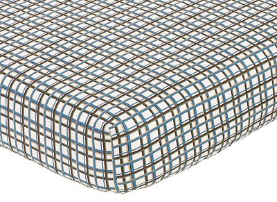 Sweet Jojo Designs Surf Fitted Crib Sheet for Baby/Toddler Bedding Sets - Plaid Print - Click to enlarge