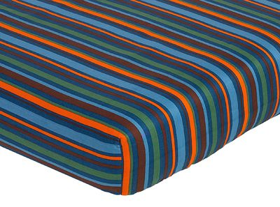 Sweet Jojo Designs Surf Fitted Crib Sheet for Baby/Toddler Bedding Sets - Stripe Print - Click to enlarge