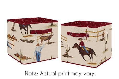 Tan and Red Cowboy Foldable Fabric Storage Cube Bins Boxes Organizer Toys Kids Baby Childrens for Wild West Collection by Sweet Jojo Designs - Set of 2 - Click to enlarge