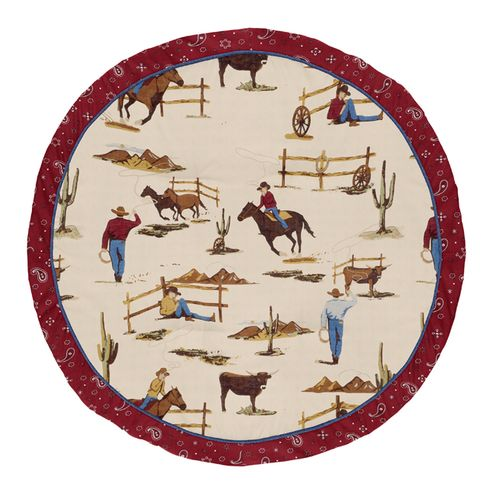 Tan and Red Cowboy Playmat Tummy Time Baby and Infant Play Mat for Wild West Collection by Sweet Jojo Designs - Click to enlarge