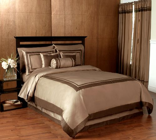 Taupe and Chocolate Hotel Spa Collection Duvet Cover 6-pc Bedding Set - Click to enlarge