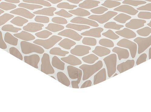 Taupe and Off-White Baby Fitted Mini Portable Crib Sheet for Giraffe Collection by Sweet Jojo Designs - Click to enlarge
