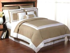 Taupe and White Hotel Duvet Comforter Cover 6-pc Bedding Set