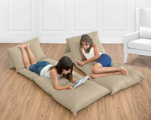 Taupe Kids Teen Floor Pillow Case Lounger Cushion Cover by Sweet Jojo Designs - Click to enlarge