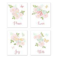 Blush Pink, Mint and White Watercolor Rose Wall Art Prints Room Decor for Baby, Nursery, and Kids for Butterfly Floral Collection by Sweet Jojo Designs - Set of 4 - Peace, Love, Joy, Bliss