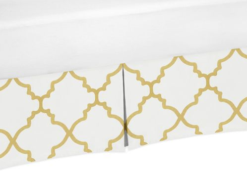 Toddler Bed Skirt for White and Gold Trellis Childrens Bedding Sets - Click to enlarge