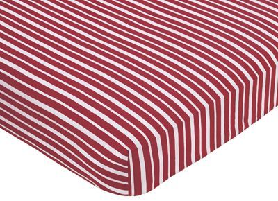 Treasure Cove Fitted Crib Sheet for Baby and Toddler Bedding Sets by Sweet Jojo Designs - Red Stripe Print - Click to enlarge