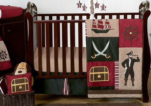 Treasure Cove Pirate Baby Bedding - 11pc Crib Set - Click to enlarge