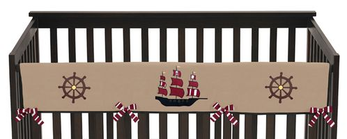Treasure Cove Pirate Baby Crib Long Rail Guard Cover by Sweet Jojo Designs - Click to enlarge