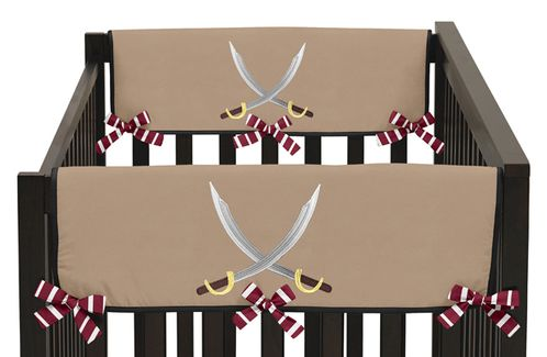 Treasure Cove Pirate Baby Crib Side Rail Guard Covers by Sweet Jojo Designs - Set of 2 - Click to enlarge