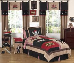 Treasure Cove Pirate Childrens Bedding - 3 pc Full / Queen Set