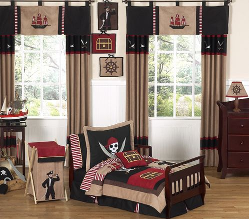 Treasure Cove Pirate Toddler Bedding - 5 pc Set - Click to enlarge
