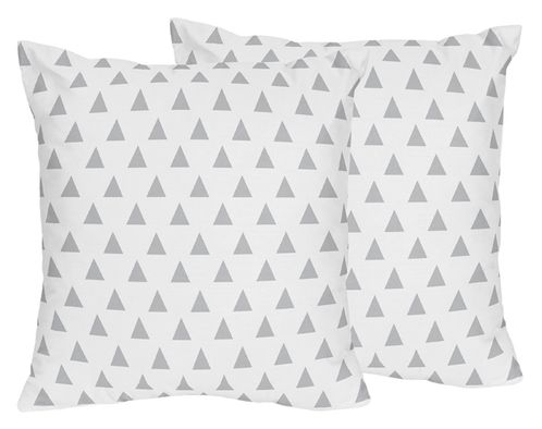 Triangle Print Decorative Accent Throw Pillows for Grey, Navy Blue and Mint Woodland Arrow Bedding by Sweet Jojo Designs - Set of 2 - Click to enlarge