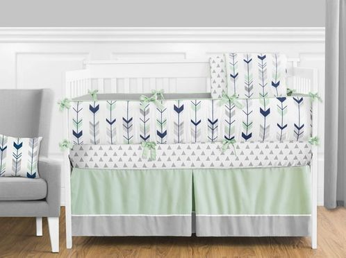 Grey, Navy Blue and Mint Woodland Arrow Baby Bedding - 9pc Crib Set by Sweet Jojo Designs - Click to enlarge