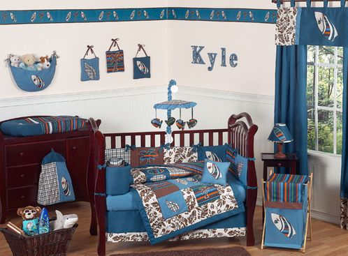 Tropical Hawaiian Baby Bedding - 9pc Boys Surf Crib Set - Click to enlarge