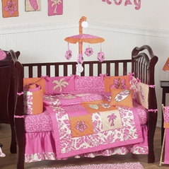 Tropical Hawaiian Baby Bedding - 9pc Girls Surf Crib Set