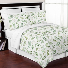 Tropical Leaf Boy Girl Full / Queen Bedding Comforter Set Kids Childrens Size by Sweet Jojo Designs - 3 pieces - Green and White Boho Watercolor Floral Tropical Botanical Woodland Garden