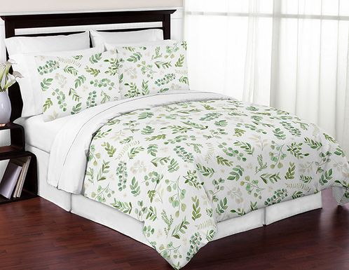 Tropical Leaf Boy Girl Full / Queen Bedding Comforter Set Kids Childrens Size by Sweet Jojo Designs - 3 pieces - Green and White Boho Watercolor Floral Tropical Botanical Woodland Garden - Click to enlarge