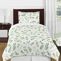 Tropical Leaf Boy Girl Twin Bedding Comforter Set Kids Childrens Size by Sweet Jojo Designs - 4 pieces - Green and White Boho Watercolor Floral Tropical Botanical Woodland Garden