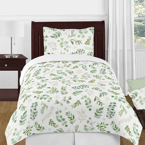 Tropical Leaf Boy Girl Twin Bedding Comforter Set Kids Childrens Size by Sweet Jojo Designs - 4 pieces - Green and White Boho Watercolor Floral Tropical Botanical Woodland Garden - Click to enlarge