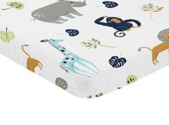 Turquiose and Navy Blue Safari Animal Baby Fitted Mini Portable Crib Sheet for Mod Jungle Collection by Sweet Jojo Designs