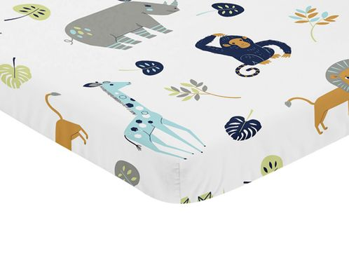 Turquiose and Navy Blue Safari Animal Baby Fitted Mini Portable Crib Sheet for Mod Jungle Collection by Sweet Jojo Designs - Click to enlarge