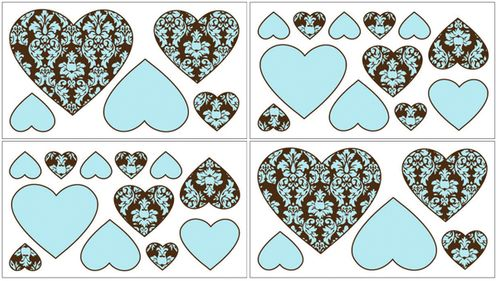Turquoise and Brown Bella Baby and Kids Wall Decal Stickers - Set of 4 Sheets - Click to enlarge