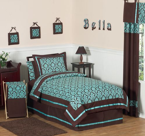 Turquoise and Brown Bella Children\'s & Teen Bedding 4 pc Twin Set
