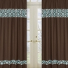 Turquoise and Brown Bella Window Treatment Panels - Set of 2
