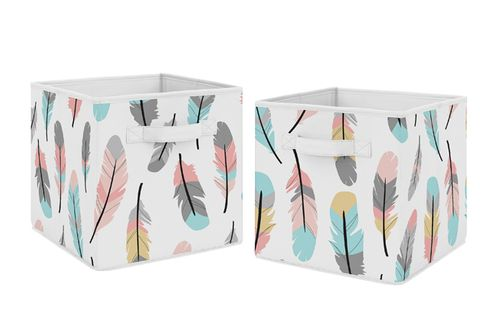 Turquoise and Coral Boho Feather Foldable Fabric Storage Cube Bins Boxes Organizer Toys Kids Baby Childrens for Collection by Sweet Jojo Designs - Set of 2 - Click to enlarge
