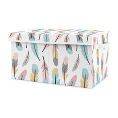 Turquoise and Coral Boho Girl Baby Nursery or Kids Room Small Fabric Toy Bin Storage Box Chest for Feather Collection by Sweet Jojo Designs