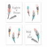 Turquoise and Coral Boho Wall Art Prints Room Decor for Baby, Nursery, and Kids for Feather Collection by Sweet Jojo Designs - Set of 4 - Explore & Dream, Wild & Free