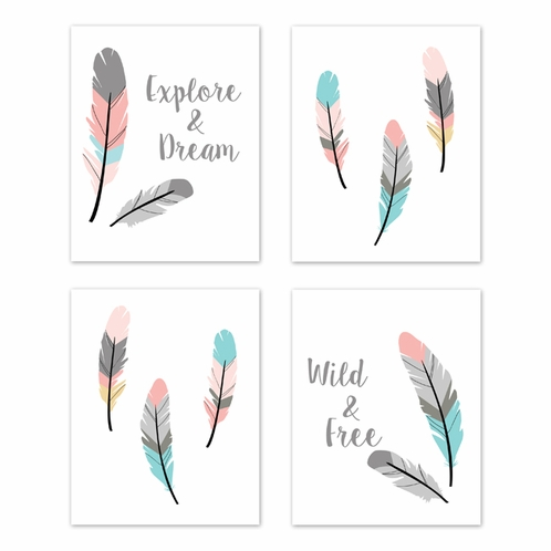 Turquoise and Coral Boho Wall Art Prints Room Decor for Baby, Nursery, and Kids for Feather Collection by Sweet Jojo Designs - Set of 4 - Explore & Dream, Wild & Free - Click to enlarge