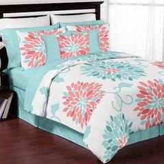 Turquoise and Coral Emma 3pc Girls Teen Full / Queen Bedding Set Collection by Sweet Jojo Designs