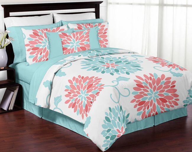 Turquoise Blue Aqua Girls Full 4 Piece Bed In A Bag Queen Comforter Set New~