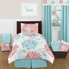 Turquoise and Coral Emma 4pc Twin Girls Teen Bedding Set by Sweet Jojo Designs