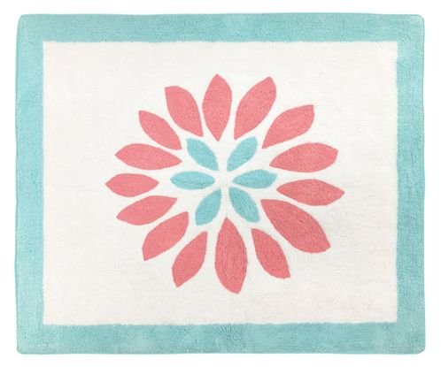Turquoise and Coral Emma Accent Floor Rug by Sweet Jojo Designs - Click to enlarge