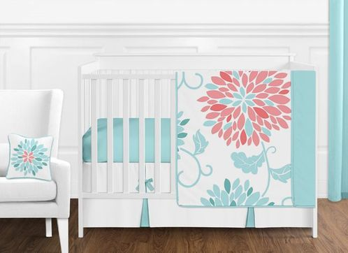 Turquoise and Coral Emma Baby Bedding - 11pc Crib Set by Sweet Jojo Designs - Click to enlarge